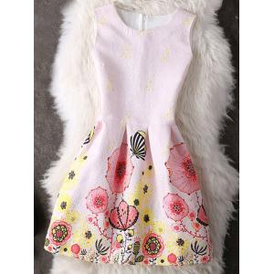 Cute Sleeveless Round Collar Printed Women's Dress