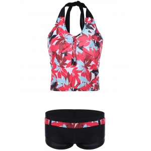 Chic Halter feuilles Sets Print Tankini