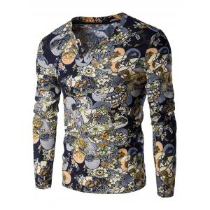 V-Neck Color Block Ethnic Style Floral Pattern Long Sleeve T-Shirt For Men - Colormix - L
