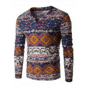V-Neck Color Block Ethnic Style Pattern Long Sleeve T-Shirt For Men