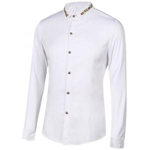Floral Embroidery Turn-Down Collar Long Sleeve Shirt For Men