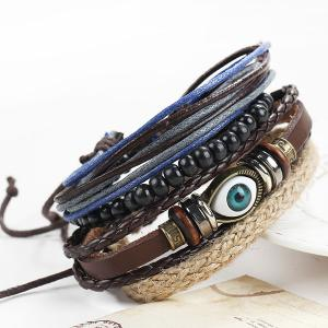 A Suit of Vintage Devil Eye Faux Leather Beads Bracelets For Men - Brown