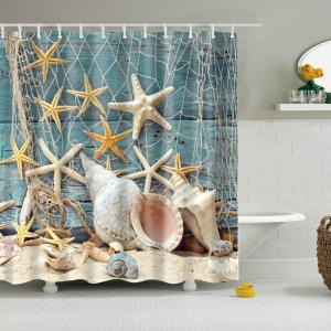 Waterproof Starfish and Shell Printed Bath Shower Curtain