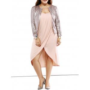 Plus Size Trendy Round Neck Sequined Short Blazer