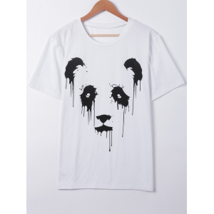 Casual Panda Print Hit Color T-Shirt