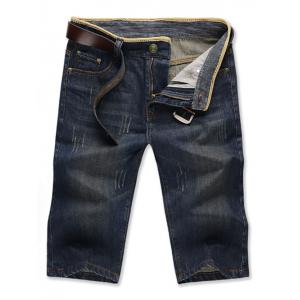 Zipper Fly Solid Color Bleach Wash Straight Leg Denim Jeans Shorts For Men -