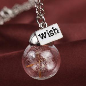 Graceful Glass Covered Dandelion Wish Sweater Chain For Women