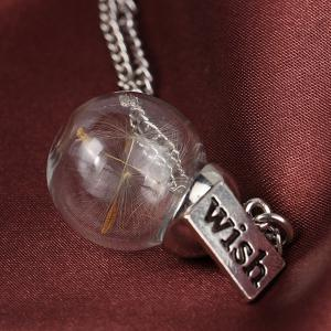 Graceful Glass Covered Dandelion Wish Sweater Chain For Women - SILVER