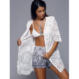 Openwork Row Edged Floral Lace Kimono Cover-Up - WHITE ONE SIZE