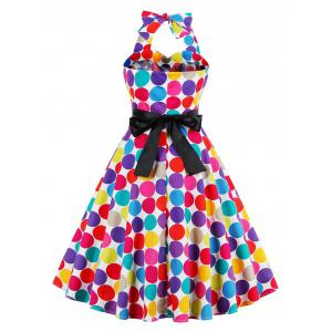 Retro Halter Sweetheart Neck Colorful Polk Dot Dress -