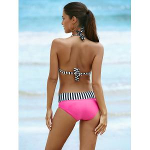 Halter Polka Dot Two Piece Swimsuit - BLACK AND PINK S