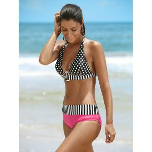 Halter Polka Dot Two Piece Swimsuit - BLACK/PINK M