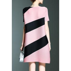 Short Stripe A Line Trapeze Dress - PINK ONE SIZE(FIT SIZE XS TO M)