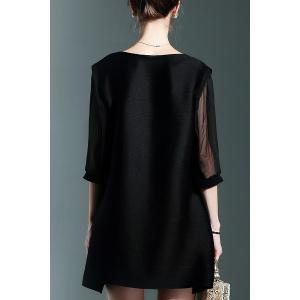 Noir en mousseline de soie Mini-robe Spliced -