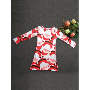 Fashionable Round Neck Long Sleeve Santa Claus Print Mini Christmas Dress For Girl -