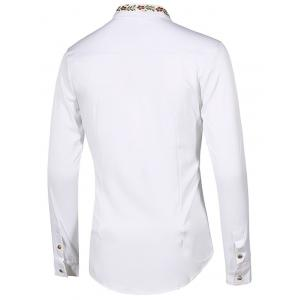 Floral Embroidery Turn-Down Collar Long Sleeve Shirt For Men - WHITE M