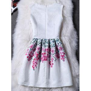 Charming Round Collar Sleeveless Floral Print Women's Dress - WHITE M