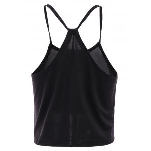 Casual Spaghetti Strap Black Tank Top For Women -
