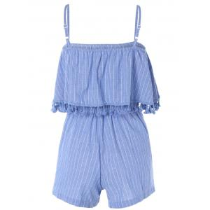 Stylish Tassel Stripe Adjustable Strap Romper For Women -