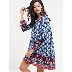 Tribal Printed Lace Up Long Sleeve Dress - PURPLISH BLUE XL