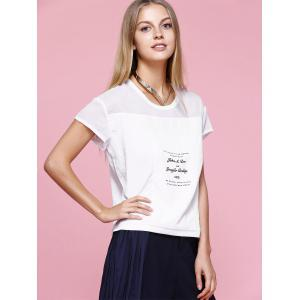 Casual Round Neck Letter T-Shirt For Women -