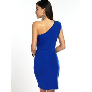 One Shoulder Solid Color Bodycon Prom Dress - BLUE 2XL