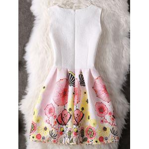 Cute Sleeveless Round Collar Printed Women's Dress - LIGHT PINK M
