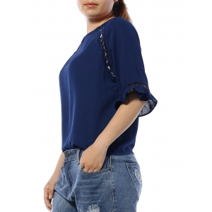 Cuff Ruffled Hollow Out Blouse -