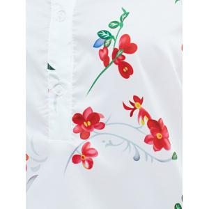Chic High Low Hem Printed Blouse For Women -