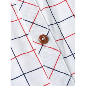 Checked Button-Down Stand Collar Long Sleeve Shirt For Men -