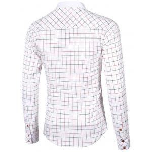 Checked Button-Down Stand Collar Long Sleeve Shirt For Men - WHITE 2XL