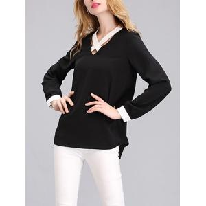 Criss Cross Front Two Tone Blouse -