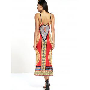 Exotic Backless Tribal Print Cut Out Dress - RED XL