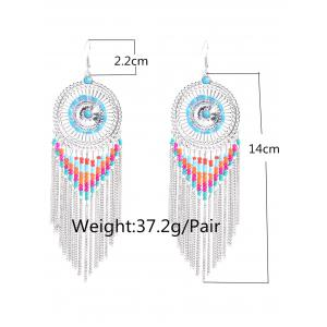 Bohemian Bead Fringed Earrings - SILVER
