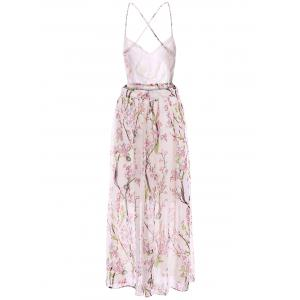 Backless Sleeveless V-Neck Floral Print Spaghetti Strap Women's Dress -