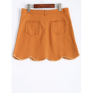 Stylish Frayed Scalloped Women's Denim Skirt - YELLOW M