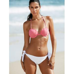 Alluring Ruched Side-Tie Bandeau Bikini Set -