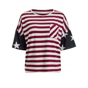Single Pocket American Flag T-Shirt - BLACK AND WHITE AND RED XL