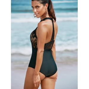 Alluring Round Neck Lace Spliced One-Piece Swimwear -