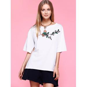 Slit Sleeve Embroidery T-Shirt -