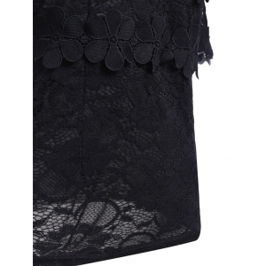 Black Short Sleeve Lace Blouse -