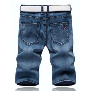 Zipper Fly Union Jack Embroidery Straight Leg Denim Shorts For Men -