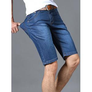 Zipper Fly Solid Color Straight Leg Denim Jeans Shorts For Men -