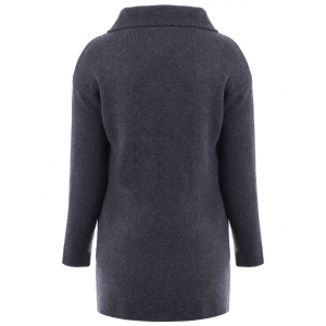 Casual Turn-Down Collar Loose-Fitting Solid Color Long Sleeve Women's Cardigan -