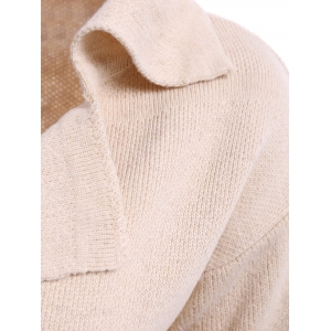 Casual Turn-Down Collar Loose-Fitting Solid Color Long Sleeve Women's Cardigan - OFF-WHITE ONE SIZE(FIT SIZE XS TO M)