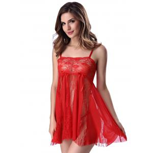 Stylish Women's Strappy See-through Lace Splicing Babydoll -
