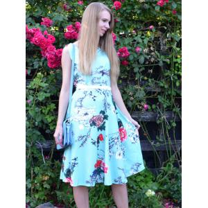 Vintage Style Jewel Neck Sleeveless Floral Print Belted Dress For Women -