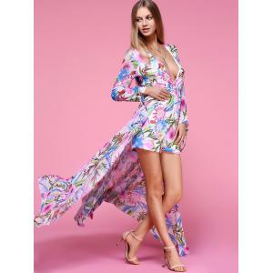 Charming Plunging Neck Floral Print High Slit Women's Dress -