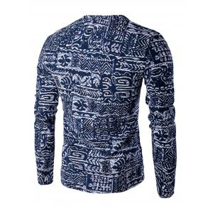 V-Neck Buttons Design Abstract Ethnic Style Pattern Long Sleeve T-Shirt For Men - BLUE 2XL
