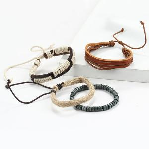 A Suit of Vintage Multilayered Faux Leather Beads Wrap Bracelets -